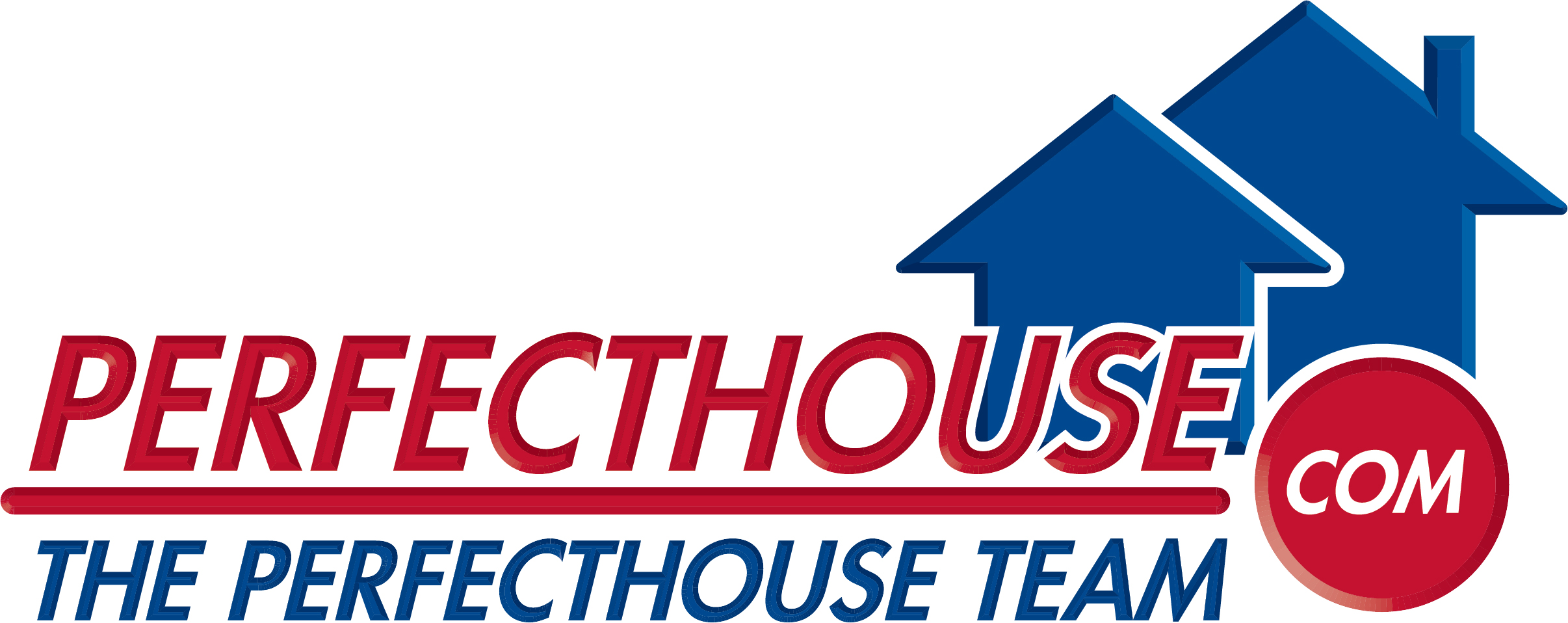 """Perfechouse Team Logo. """"Perfect House Team"""" is in red and blue letters against two blue houses."""